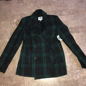 Green and black flannel pea coat. Never worn.